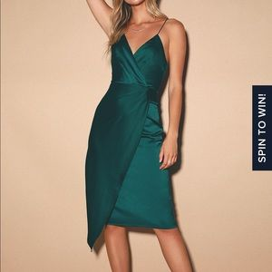 Quite Likely Dark Teal Satin Midi Dress